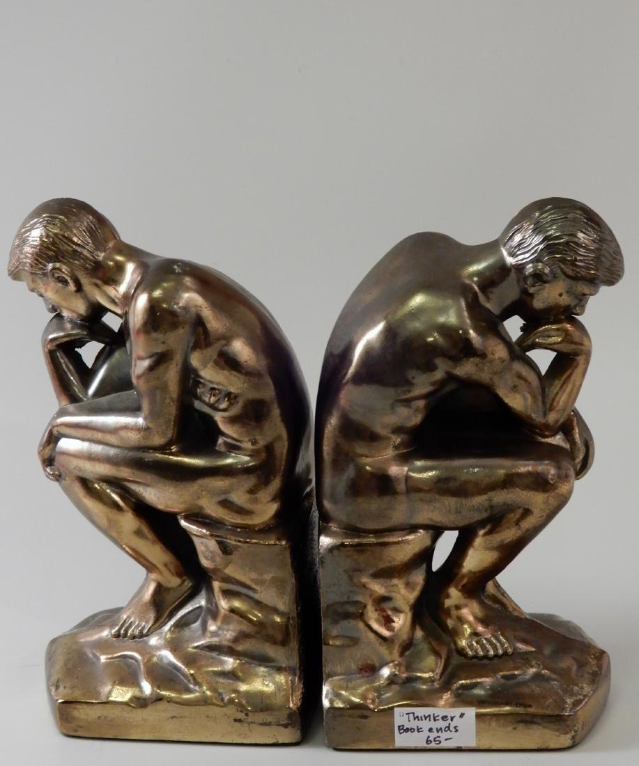 Vintage Art Deco Bronzed Cast Metal Thinker Bookends