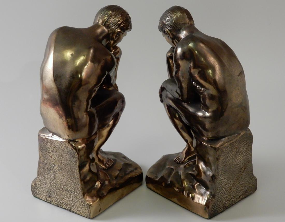 Vintage Art Deco Bronzed Cast Metal Thinker Bookends - 2
