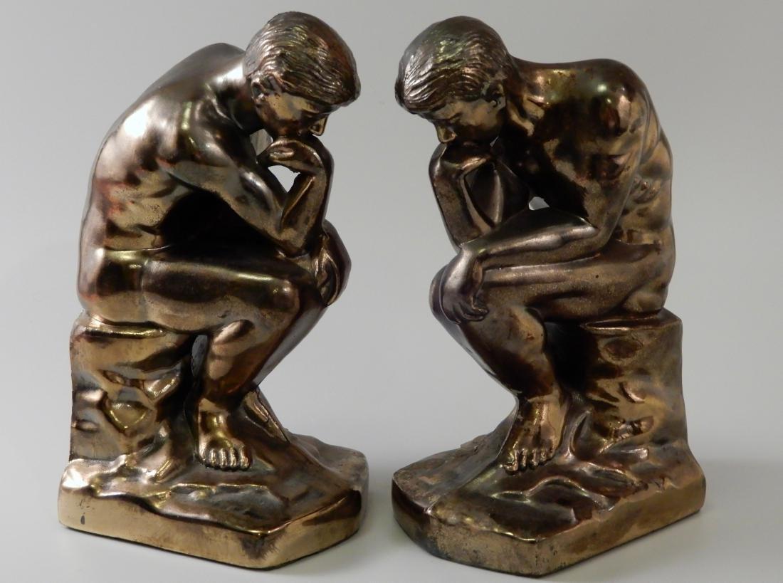 Vintage Art Deco Bronzed Cast Metal Thinker Bookends - 3