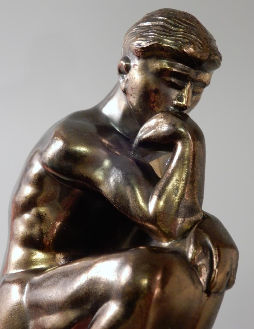 Vintage Art Deco Bronzed Cast Metal Thinker Bookends - 4