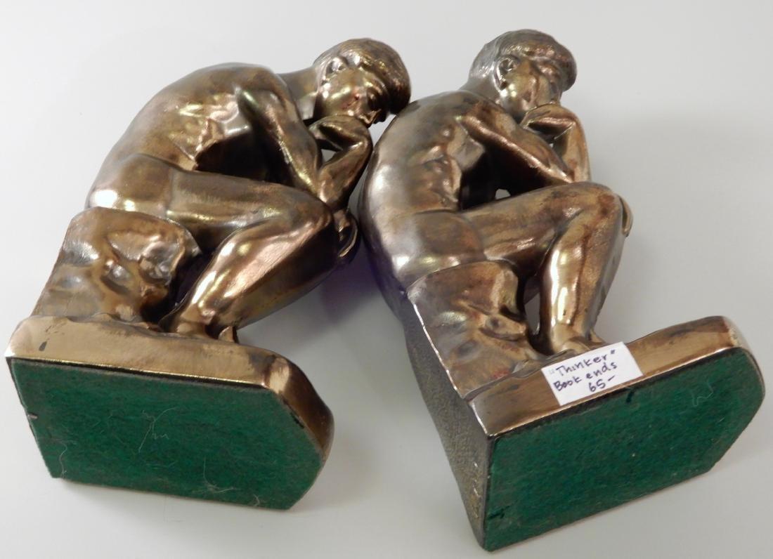 Vintage Art Deco Bronzed Cast Metal Thinker Bookends - 5