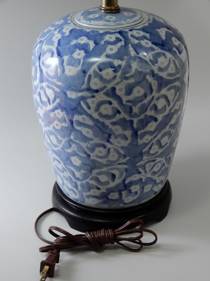 Blue and White Painted Porcelain Ginger Jar Table Lamp - 2