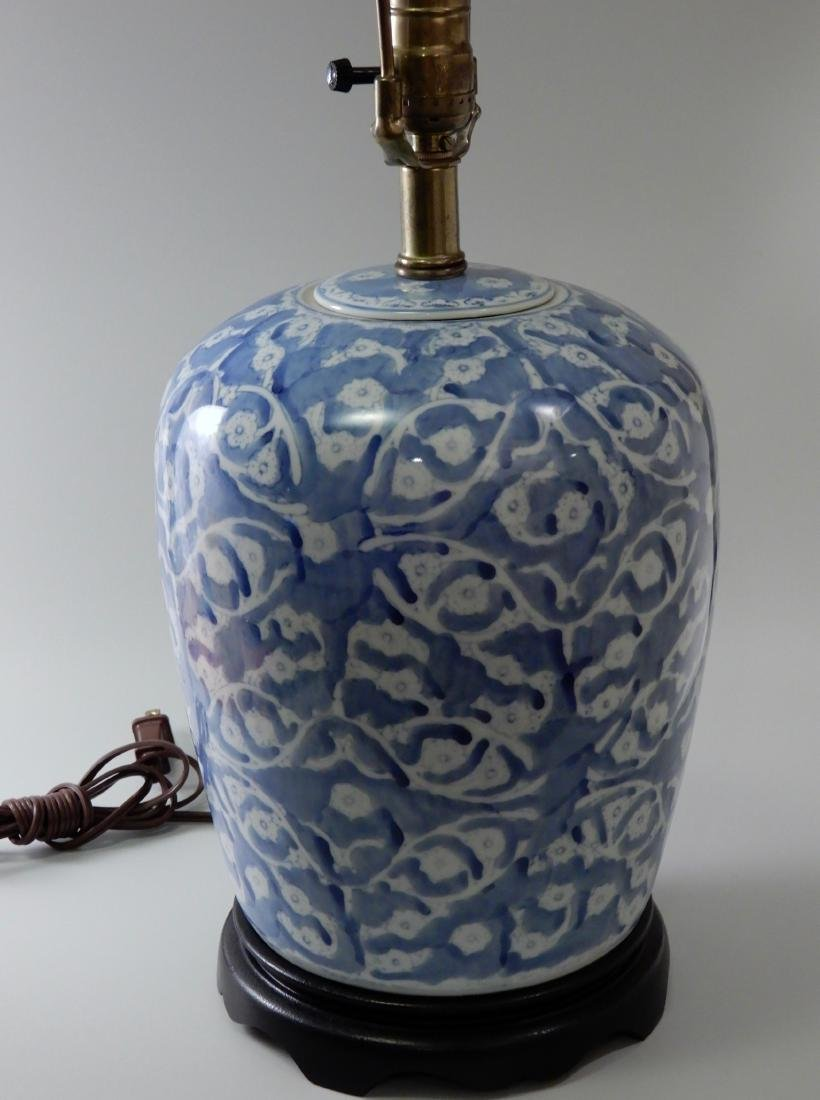 Blue and White Painted Porcelain Ginger Jar Table Lamp - 4