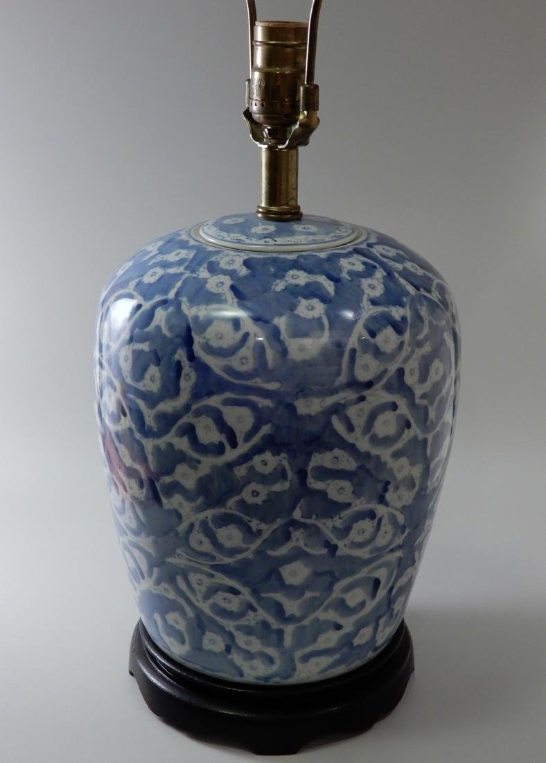 Blue and White Painted Porcelain Ginger Jar Table Lamp - 5
