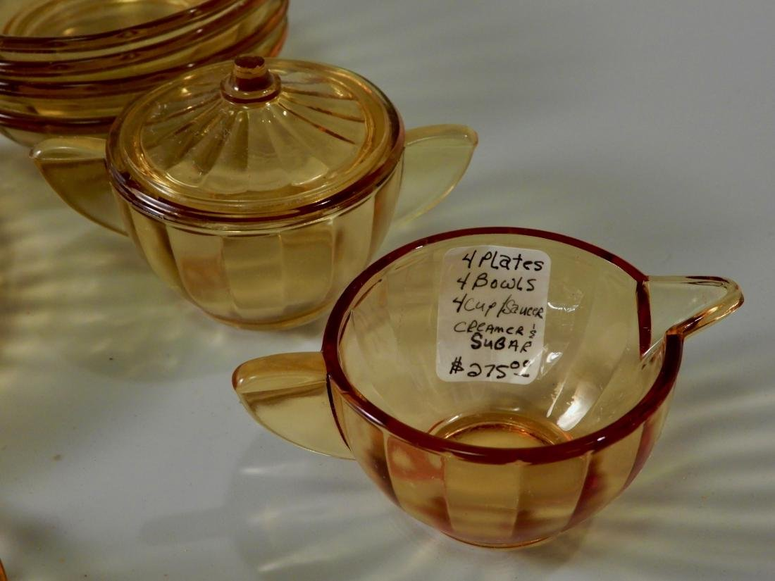 Vintage Child Tea Party Dollhouse Yellow Amber Pressed - 2