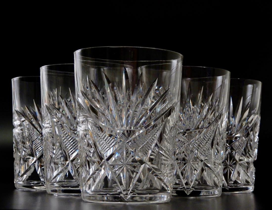 Antique ABP Pinwheel Cut Crystal Glasses Lot of 6
