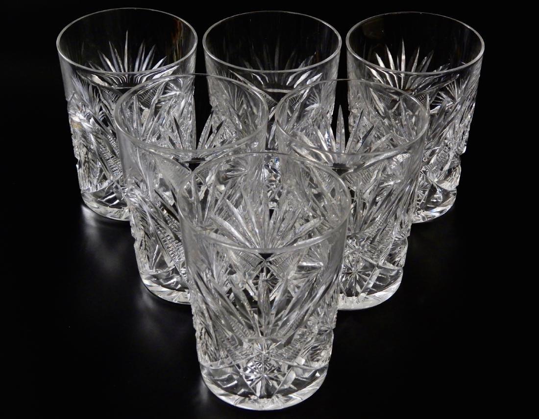 Antique ABP Pinwheel Cut Crystal Glasses Lot of 6 - 2