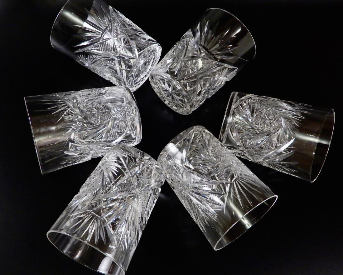 Antique ABP Pinwheel Cut Crystal Glasses Lot of 6 - 4