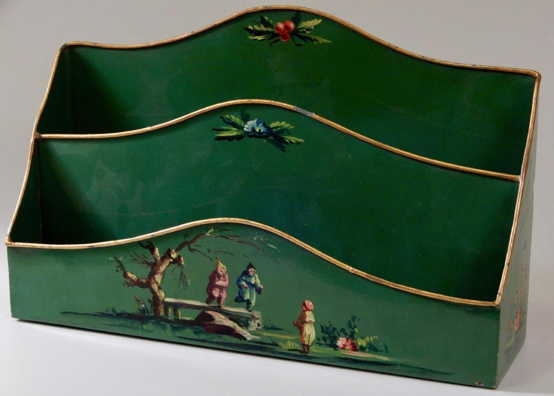 French Tole Verde Painted Chinoiserie Letter Rack   and - 2