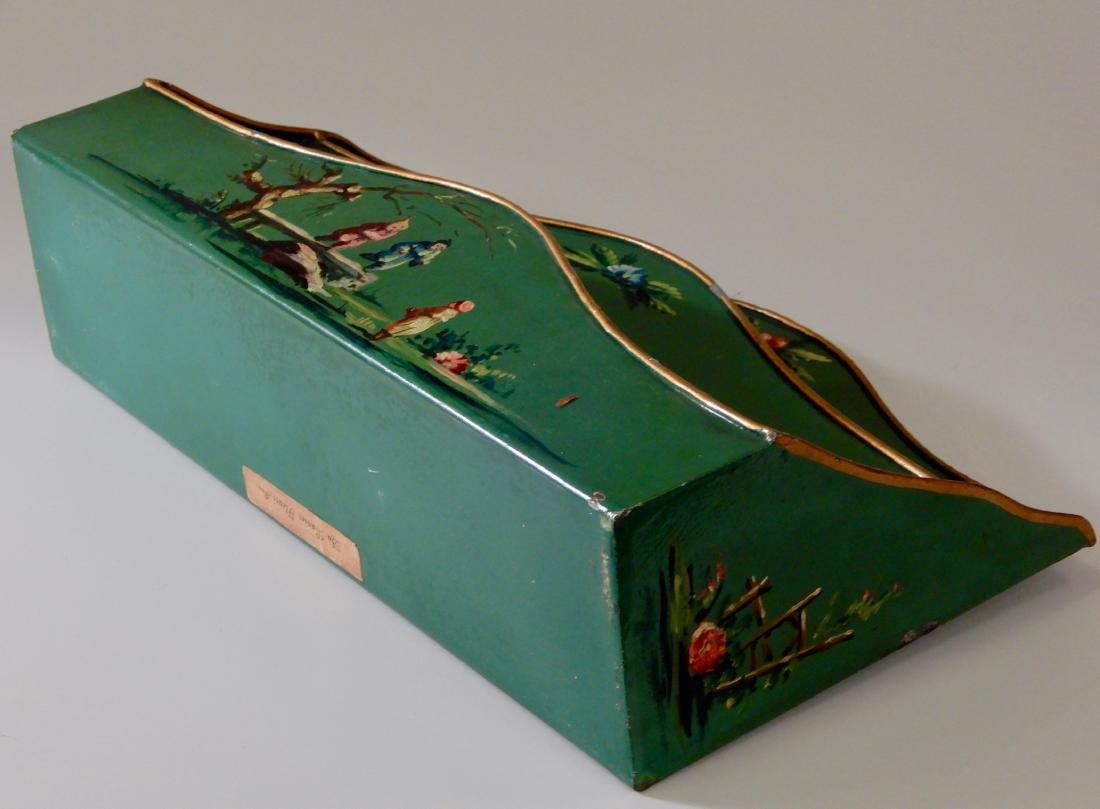 French Tole Verde Painted Chinoiserie Letter Rack   and - 3