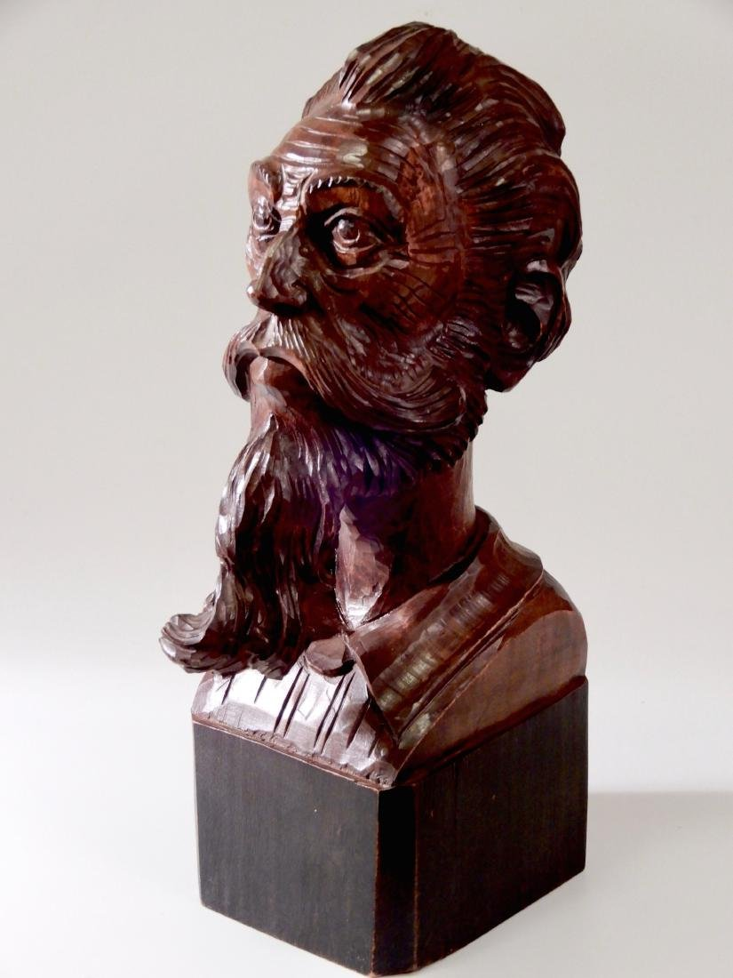Art Deco Wood Carved Wood Bust Don Quixote of La Mancha - 3