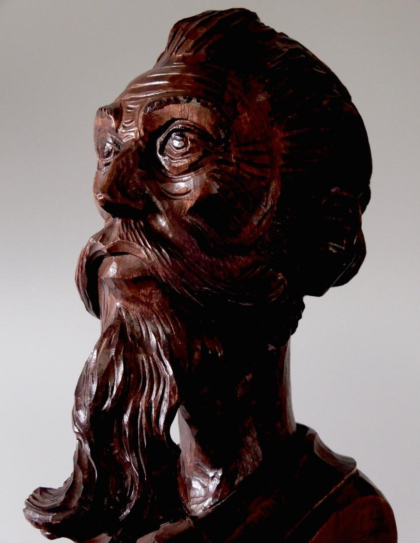 Art Deco Wood Carved Wood Bust Don Quixote of La Mancha - 6