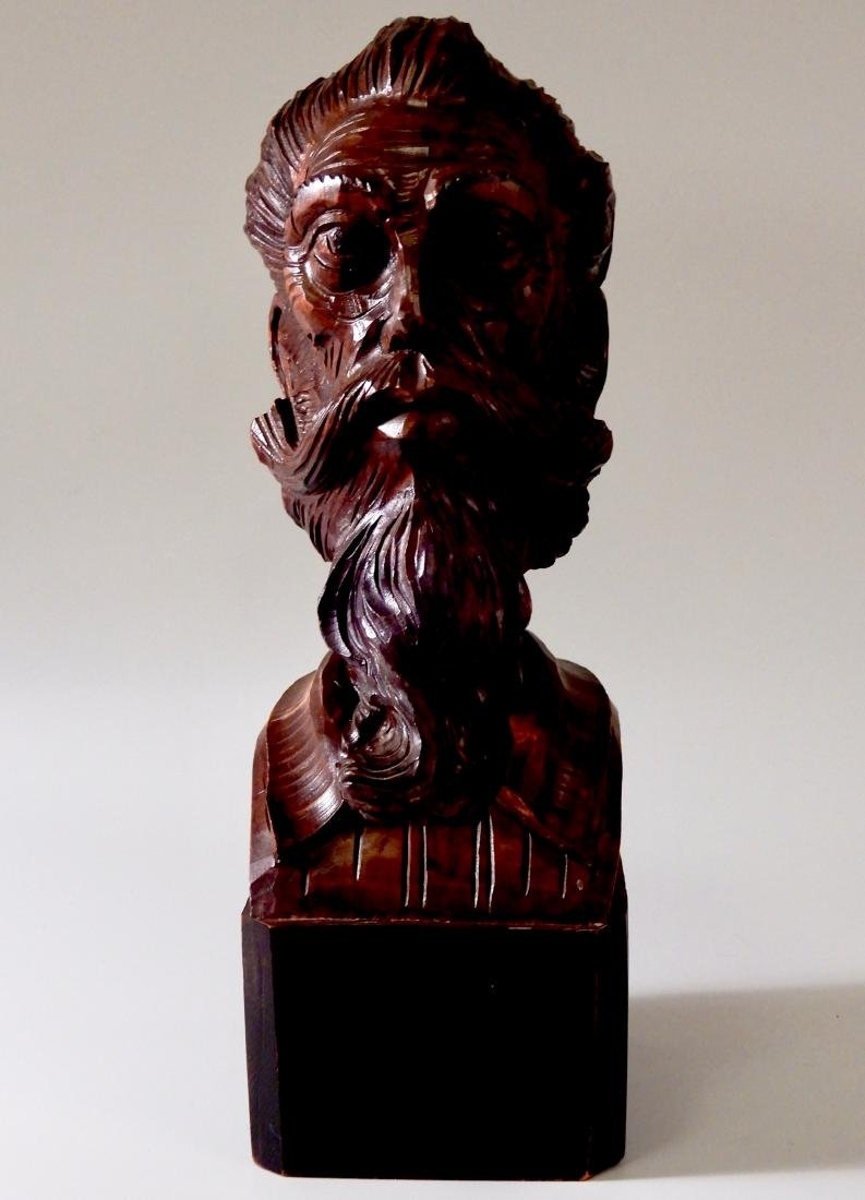 Art Deco Wood Carved Wood Bust Don Quixote of La Mancha - 7
