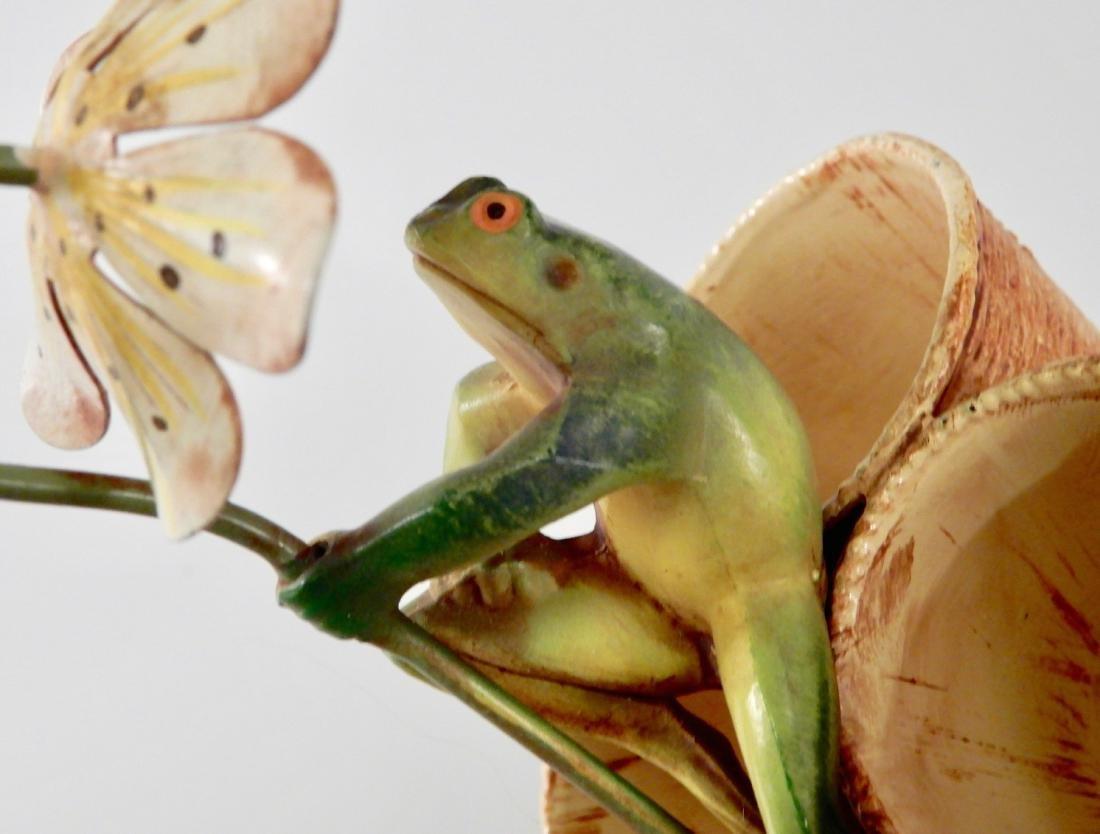 Mid Century Cast Metal Painted Tole Frog Vase - 6