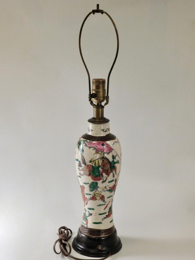 Vintage Oriental Battle Warriors Craquelure Glaze Vase