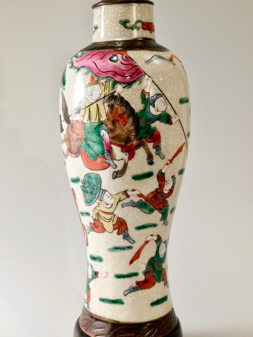 Vintage Oriental Battle Warriors Craquelure Glaze Vase - 2
