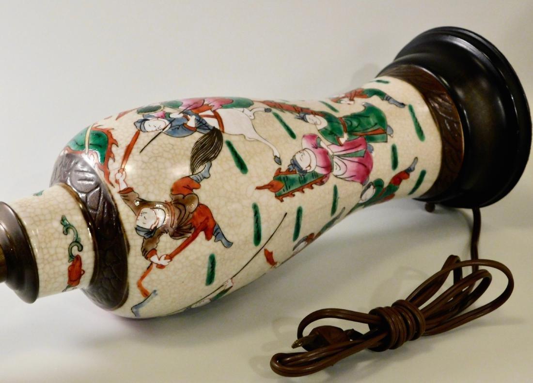 Vintage Oriental Battle Warriors Craquelure Glaze Vase - 5