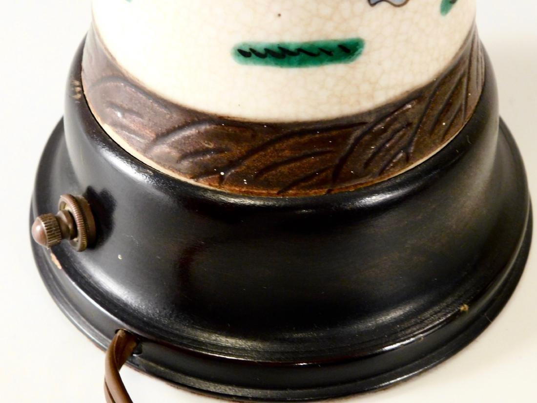 Vintage Oriental Battle Warriors Craquelure Glaze Vase - 8