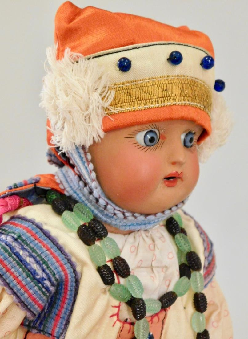 Antique Russian Dunaev Ethnic Peasant Girl Doll Jointed - 10