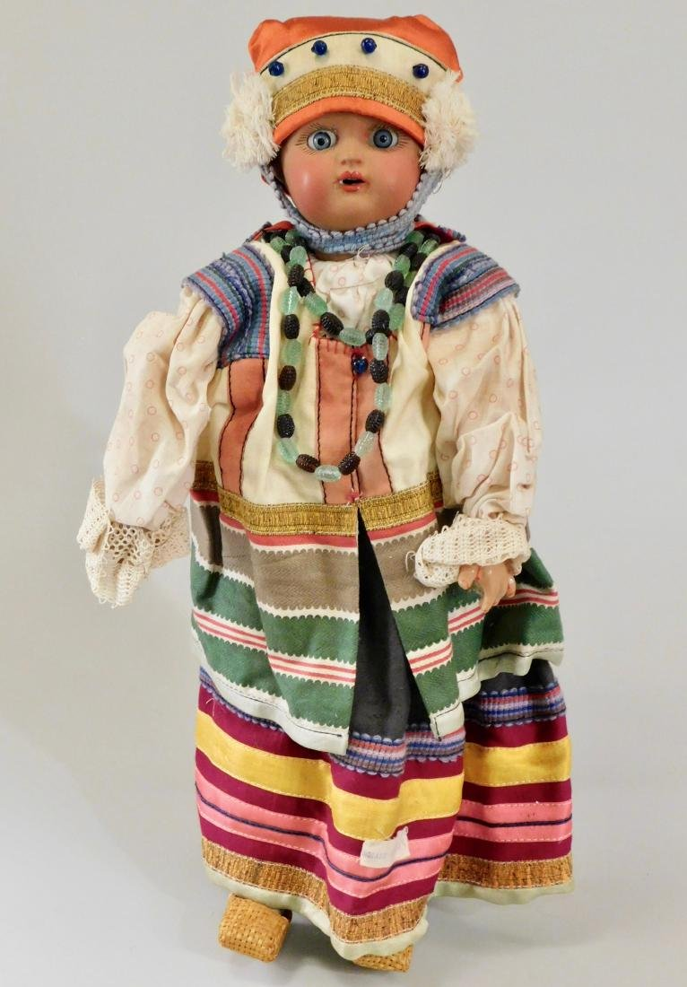 Antique Russian Dunaev Ethnic Peasant Girl Doll Jointed
