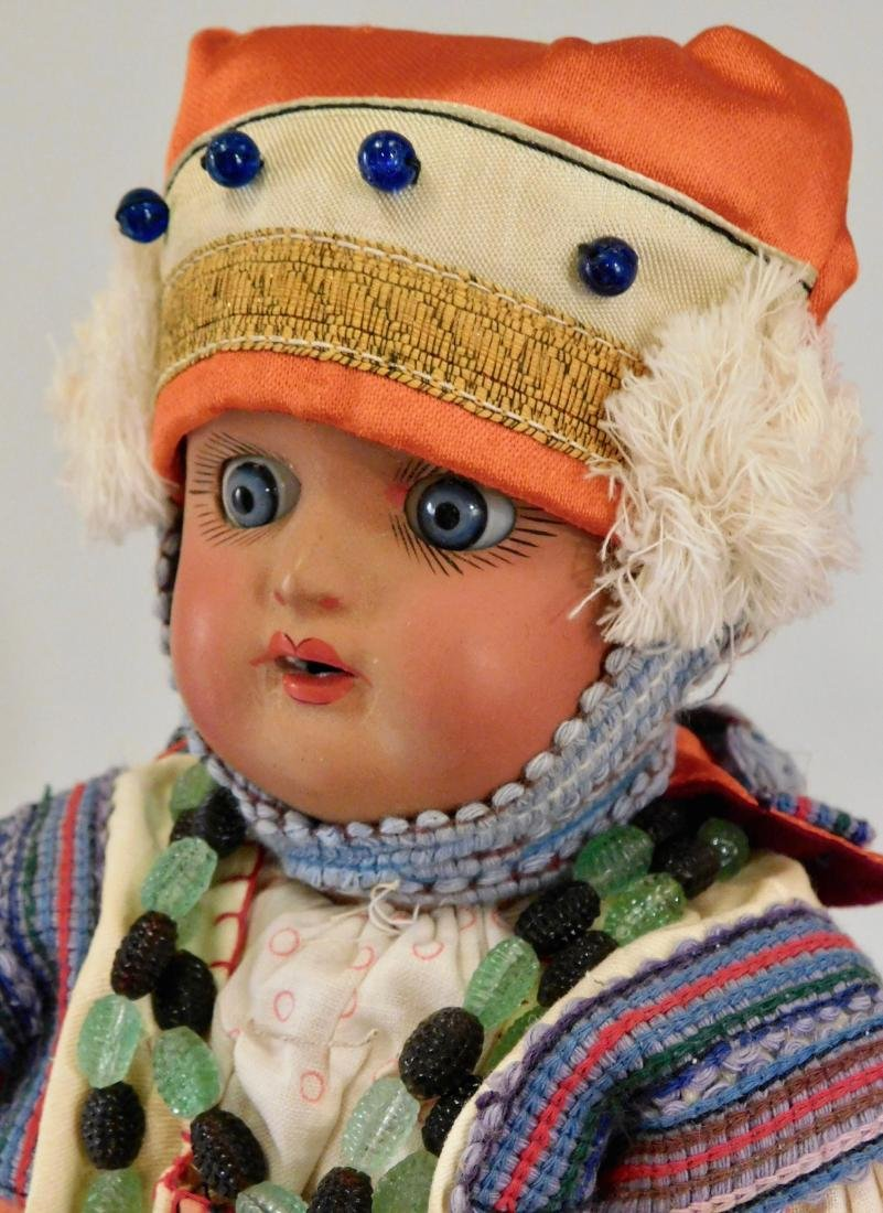 Antique Russian Dunaev Ethnic Peasant Girl Doll Jointed - 2