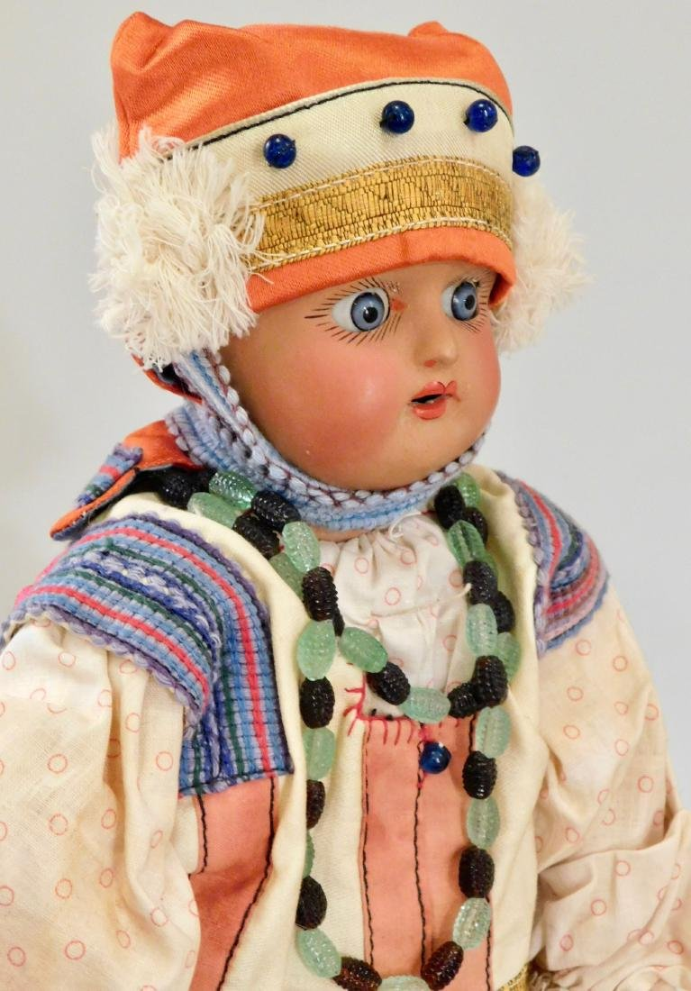 Antique Russian Dunaev Ethnic Peasant Girl Doll Jointed - 4