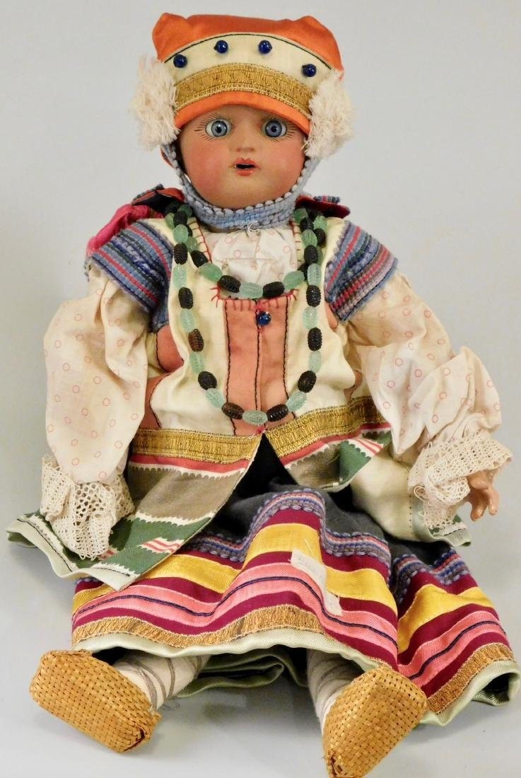 Antique Russian Dunaev Ethnic Peasant Girl Doll Jointed - 7