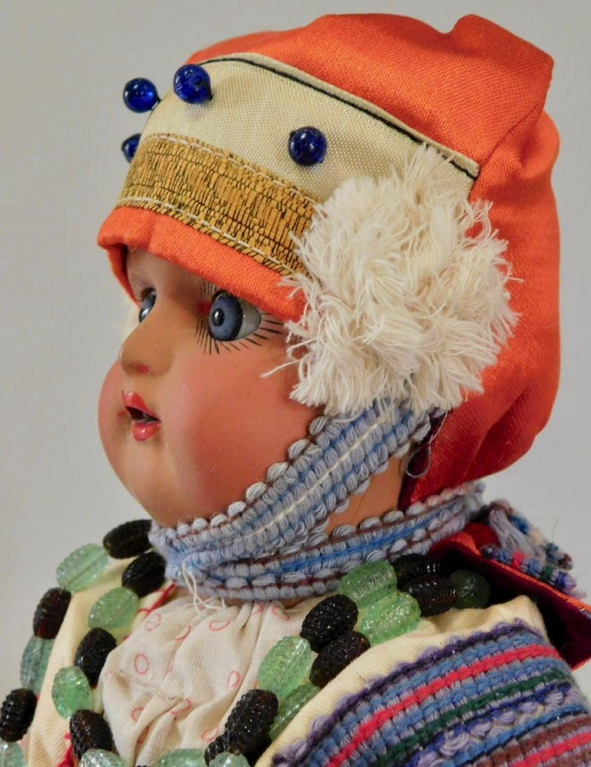 Antique Russian Dunaev Ethnic Peasant Girl Doll Jointed - 8