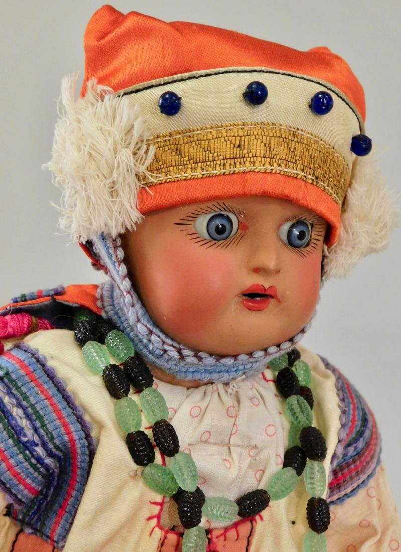 Antique Russian Dunaev Ethnic Peasant Girl Doll Jointed - 9