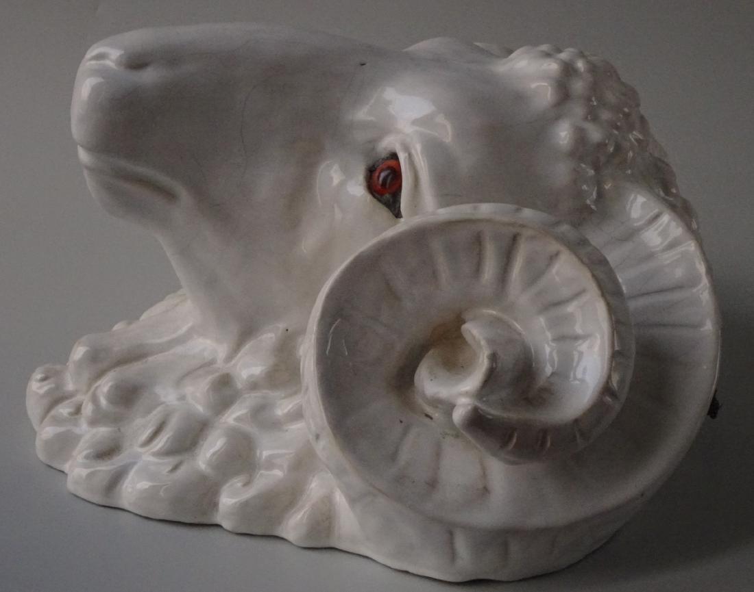 Huge French Bavent Style White Glazed Terracotta Ram - 2