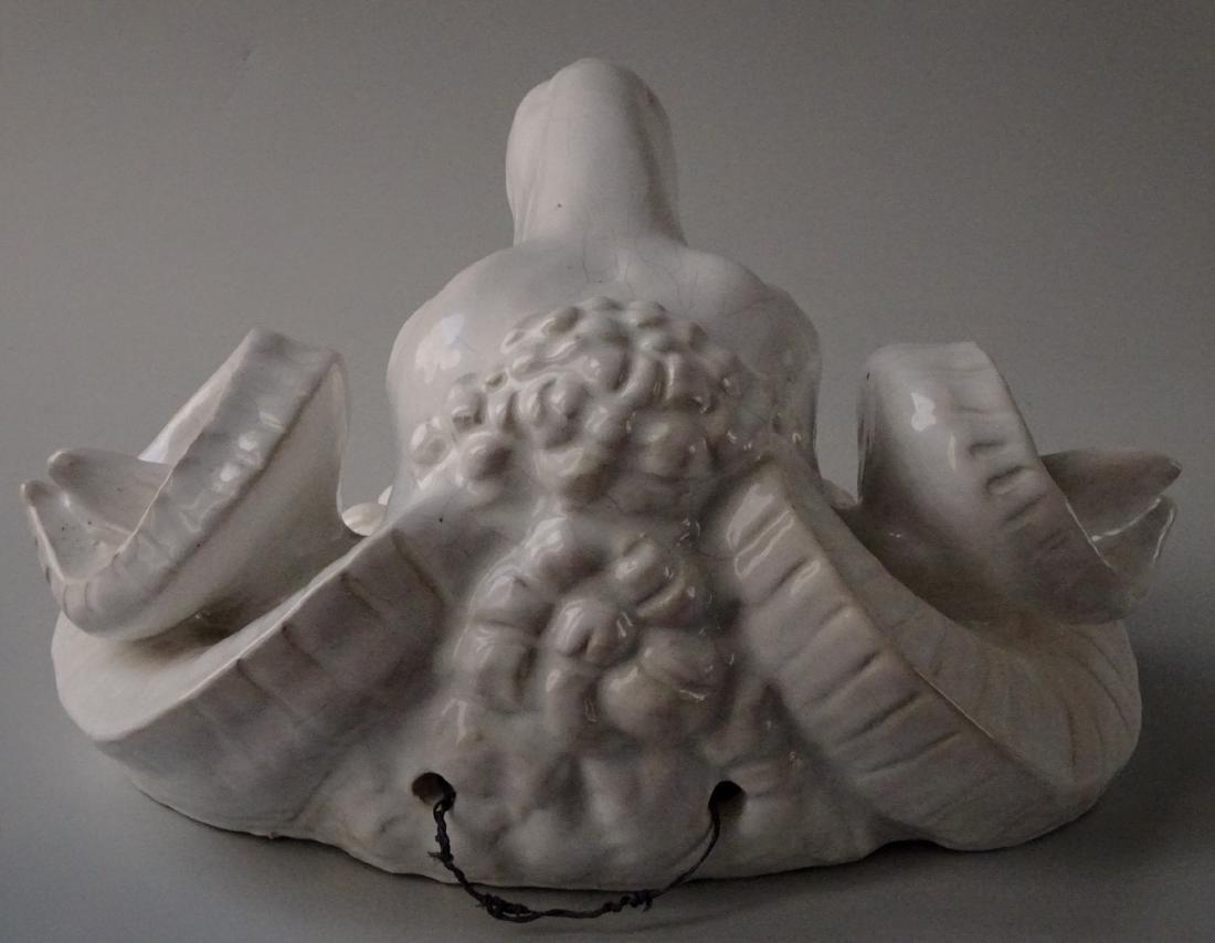 Huge French Bavent Style White Glazed Terracotta Ram - 3