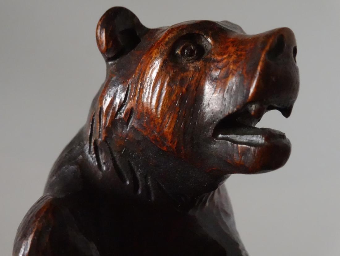 Good Old Black Forest Bear Carved Figurine Jeweled Eyes - 2