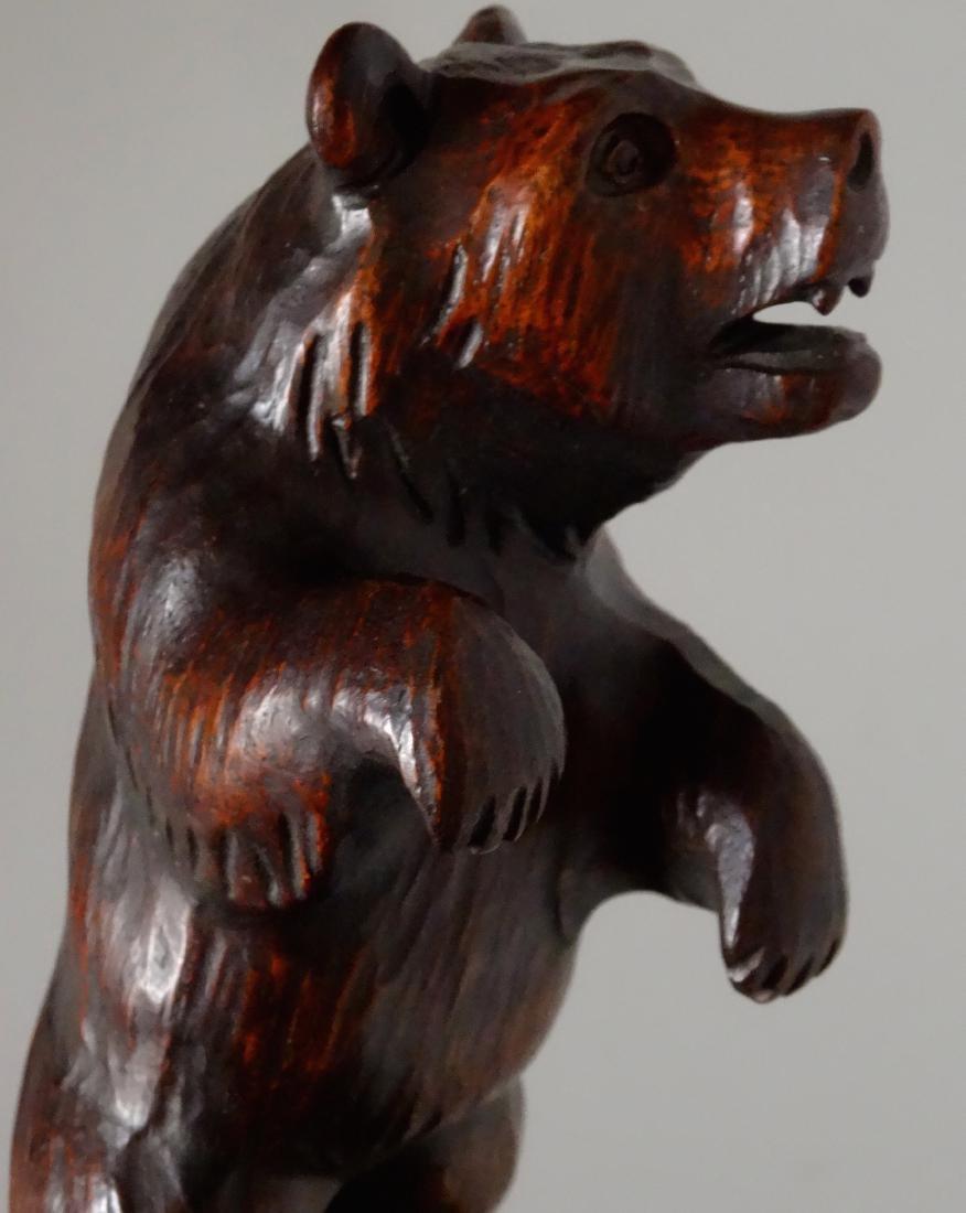 Good Old Black Forest Bear Carved Figurine Jeweled Eyes - 7