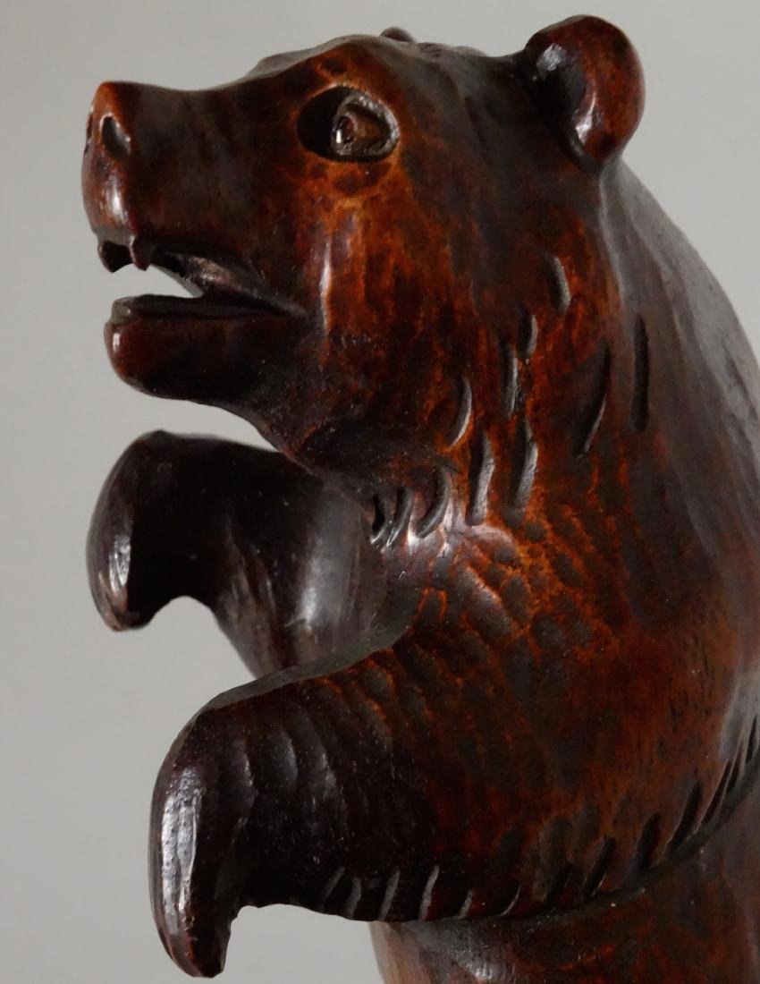 Good Old Black Forest Bear Carved Figurine Jeweled Eyes - 8