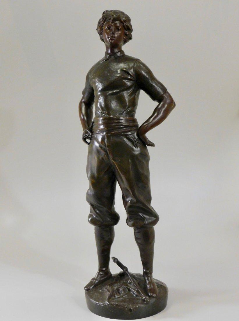 Louis Moreau Bronze Painted Spelter Equestrian Statue o