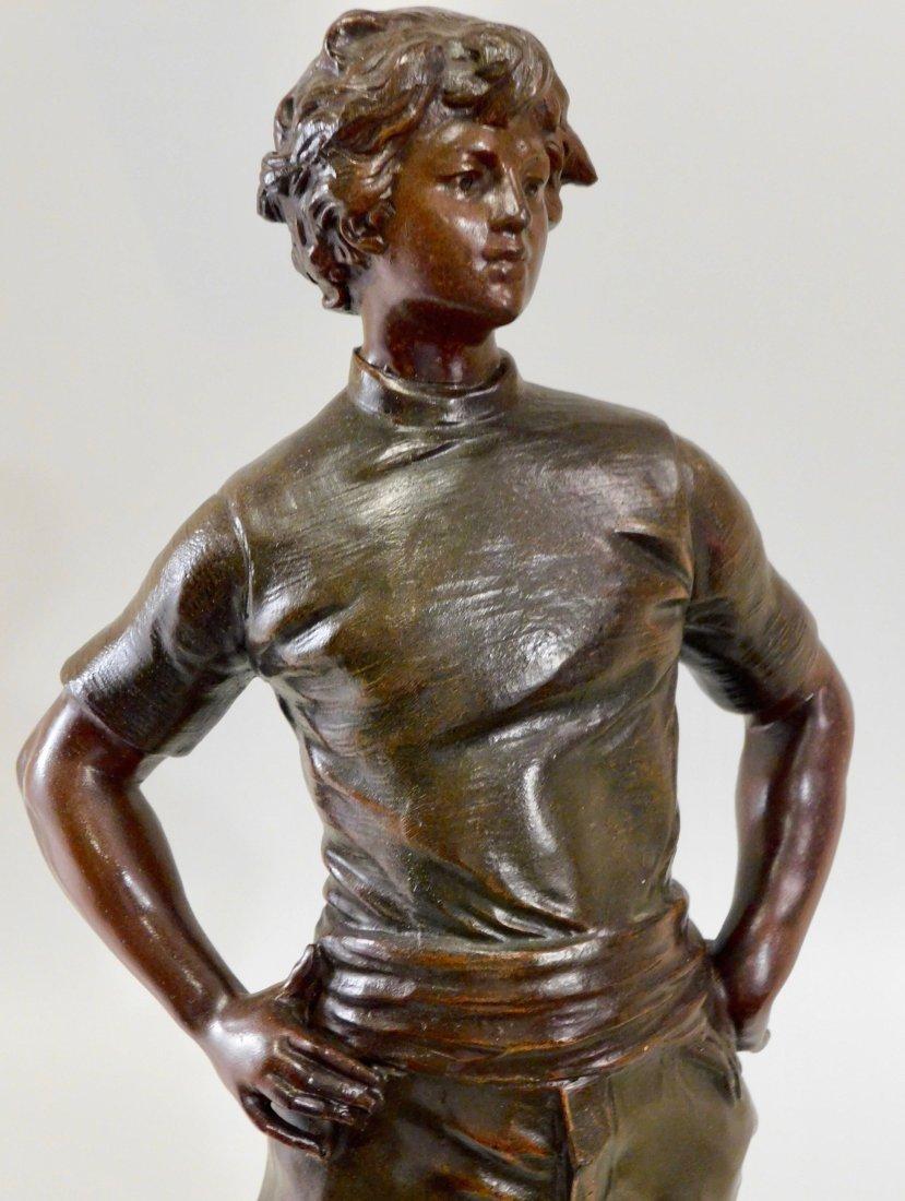 Louis Moreau Bronze Painted Spelter Equestrian Statue o - 7