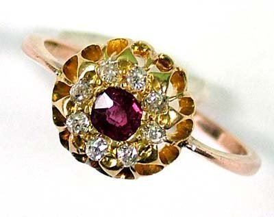 4: Ladies' antique ruby and diamond cluster ring