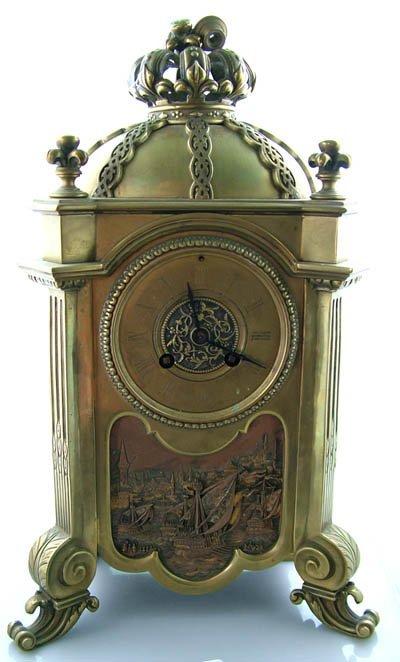 484: Mid 19C French empire design 8 day mantel clock