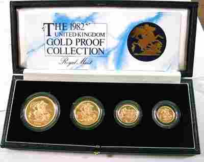 672: Elizabeth II, gold proof set, 1982
