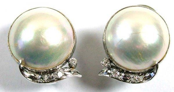 9: Ladies' pearl and diamond earrings