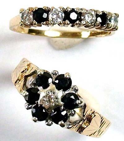14: Ladies' cluster and half eternity rings