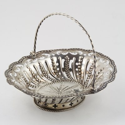 394: George III silver swing handle basket