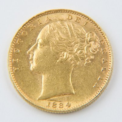 470: Victoria, young head, sovereign, 1884 M