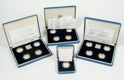 614: Elizabeth II, silver proof pounds (13)