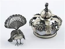 322: Russian silver crown & silver peacock (2)