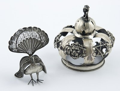322: Russian silver crown & silver peacock (2)