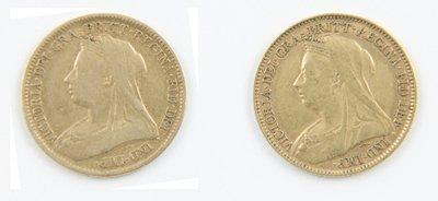 423: Victoria, old head, half sovereigns (2)