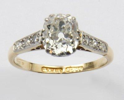 2: Ladies antique diamond solitaire ring
