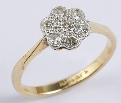 2: Ladies antique diamond cluster ring