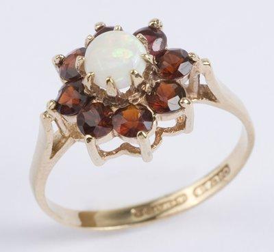 5: Ladies opal & garnet cluster ring